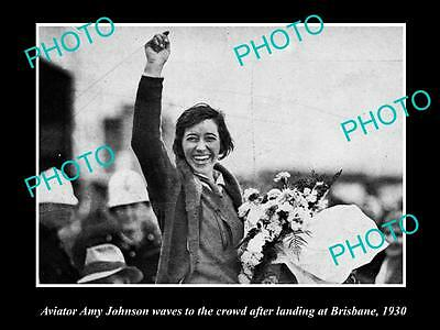 Old Large Historic Aviation Photo Of Amy Johnson Arriving In Brisbane Qld 1930 2