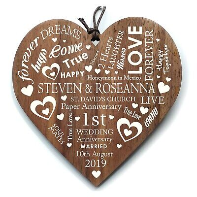 Personalised Wedding Anniversary Gift Wooden Heart Plaque Any Anniversary Year