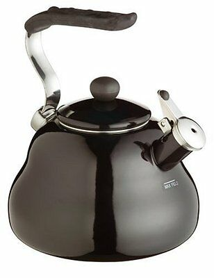 Whistling Black Retro Kettle 2ltr Stove Top Hob Induction KitchenCraft L'Express