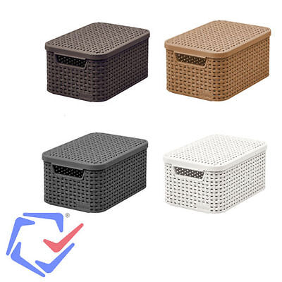 Curver M size Lided Style Box Available In 3 Colours Rattan Container Fibre Look