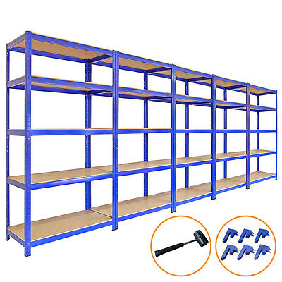 5 x 90cm Large Shelving Racking Units for Garage, Shed or Workshop Blue