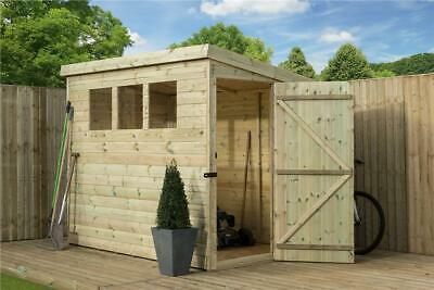 8X4 Garden Shed Shiplap  Pent Shed Tanalised Windows Pressure Treated Door Right