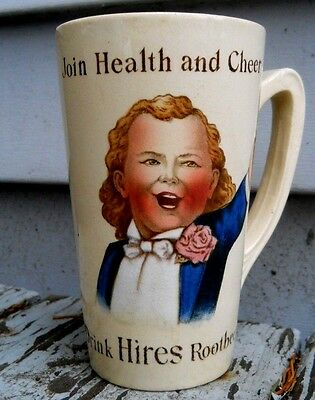 "Antique HIRES Root Beer ""Ugly Boy"" Mug Cup VILLEROY & BOCH Pottery Germany"