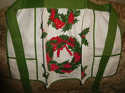 Pretty Vintage Christmas Apron by VERA. Red Poinsettia Flowers Cotton VGC