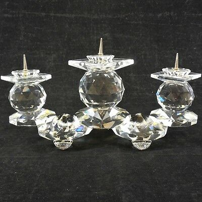 Swarovski Crystal Candle Holder # 115, 3 Arm Pin Ball Style Retired Euro Style