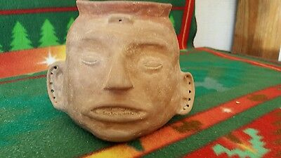 Mississippian Quapaw painted pottery head pot