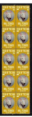 BULL TERRIER STRIP OF 10 MINT CKC YoD DOG STAMPS