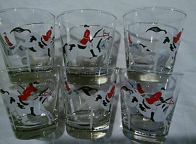 6 Vintage Libbey Equestrian Horse Racing Whiskey Rocks Glasses