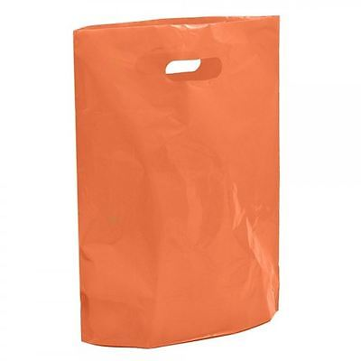 "100 Orange Plastic Carrier Bags - 15"" x 18"" x 3"" Large Coloured Shopping Bag"