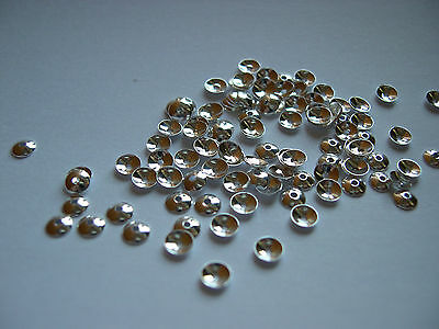 Qty 100 - 4mm Bead Caps Plain - Silver Plated Nickel Free
