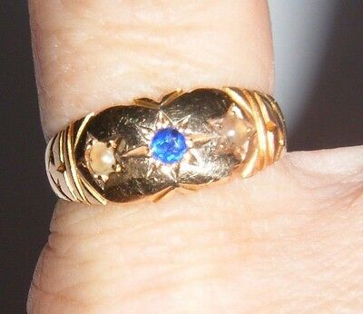 Antique Victorian 18ct Gold Pearl & Sapphire Ring - 3.2g - No Reserve