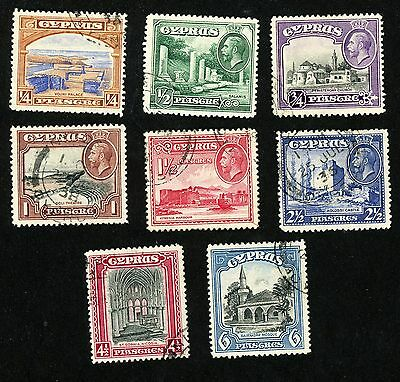 1934 Cyprus Stamps #125-132 (8 stamps) All Used, H/HR
