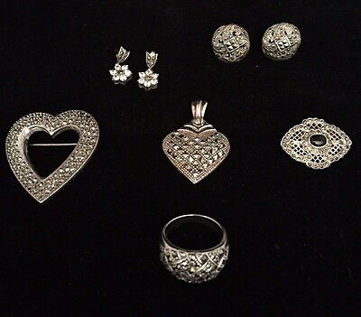 Vintage Sterling Silver Marcasite Lot - Dome Ring ~  Earrings ~Pins ~ Pendant