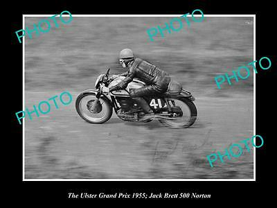 Old Historic Motorcycle Photo Of Jack Brett Racing His Norton 500, Ulster 1955