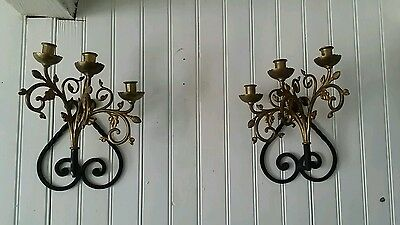 Pair Of Beautiful Vintage French Cast Iron Wall Candle Sconces