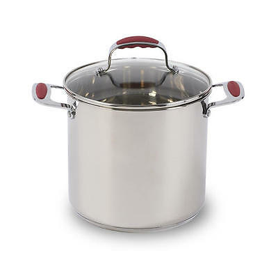 8 QT 18/0 430 Commercial Stainless Steel Stock POT+GLASS RED GRIP LID*LIFETIME