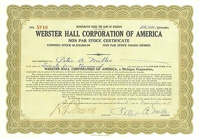 1925 Stock Certificate - WEBSTER HALL CORPORATION OF AMERICA