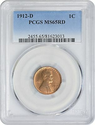 1912-D Lincoln Cent MS65RD PCGS Mint State 65 Red