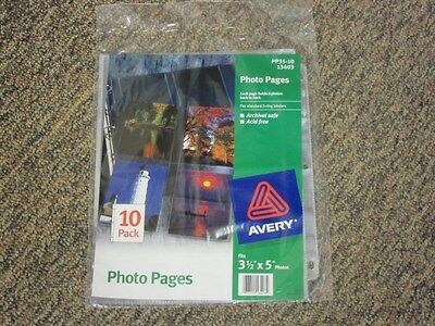 "Avery 3 1/2""x5"" Photo Pages 13403, Acid Free, Pack of 10, New"
