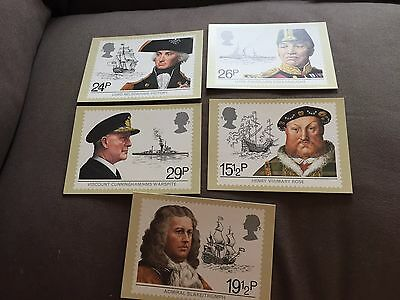 """1982 Set Of 5 Royal Mail """"maritime Heritage"""" Stamp Phq Postcards"""