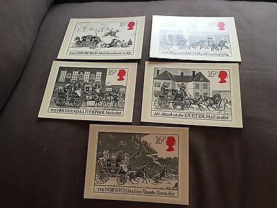 """1984 Set Of 5 Royal Mail """"the Royal Mail"""" Stamp Phq 78 Postcards"""