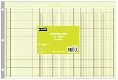 New Staples Columnar Pad 12 Column 11 x 16-5/16 50 Sheets/Pad