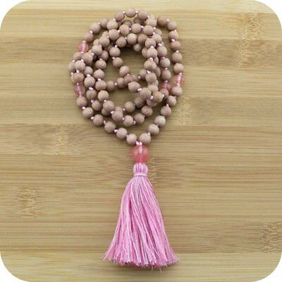 Hand Knotted Philippine Rosewood Yoga Japa Mala Beads Necklace with Cherry Quart