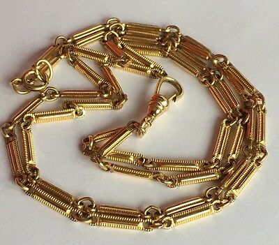 """Antique Victorian Yellow Gold Filled Pocket Watch Fob Chain Necklace 30.5"""""""