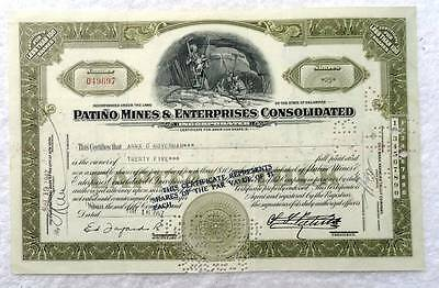 1947 Patino Mines & Enterprises Consolidated Stock Certificate #87