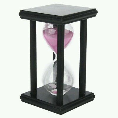 Hourglass Pink 60 Min Sand Timer Black Wood Hour Glass Ornament Gift Decoration