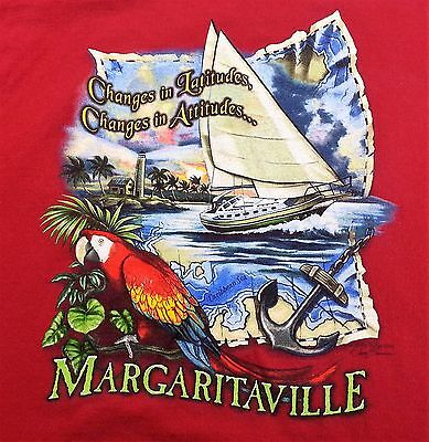 JIMMY BUFFETT Mens T SHIRT Large L Margaritaville CAYMAN ISLANDS 2005 Parrot
