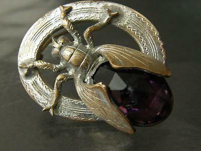 Antique Vintage Silvertone Faux Amethyst Beetle Bug Insect Pin