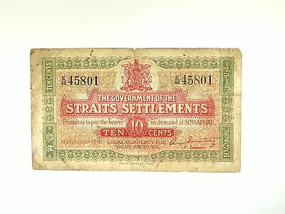 1919 Government Of The Straits Settlements 10 Cents Singapore