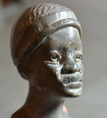 Vintage African Soap Stone Carving / Bust Of Womans Head Grey
