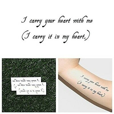 Tattify Carry Your Heart Quote Temporary Tattoo Carryout Set Of 2