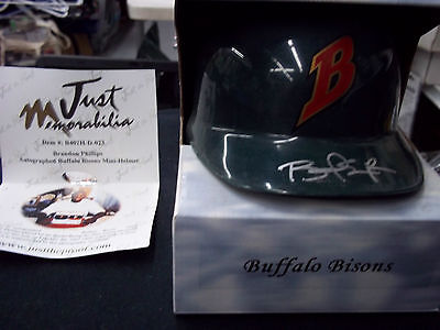 Brandon Phillips Autograph Baseball Helmet Just Minors Bisons Signed Reds