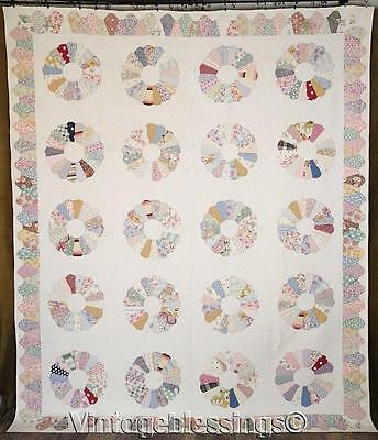 "Wonderful Vintage 30s Feedsack Dresden Plate QUILT 93"" x 77"" Never Used"