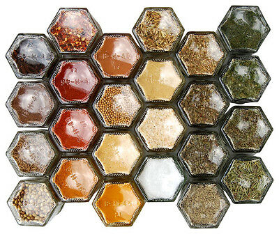 10 Hex Magnetic Hexagaon Spice Jars 55 ml - Filled with 10 Indian Spices