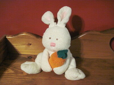 "HTF 10"" TY Pluffies SNACKERS 2005 White Bunny RABBIT with Carrot"