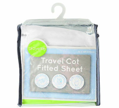 PlainTravel Cot Fitted Sheet - White Size: 73 x 105 x 10cm