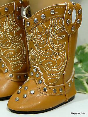 """TAN LT BROWN Western Studded Cowboy DOLL BOOTS SHOES fits 18"""" AMERICAN GIRL DOLL"""