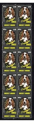 Basset Hound Purebreed Dogs Strip Of 10 Mint Stamps 5