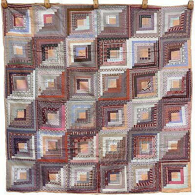 GORGEOUS Butterscotch & Chocolate Madder Browns STRAIGHT FURROWS LOG CABIN Quilt