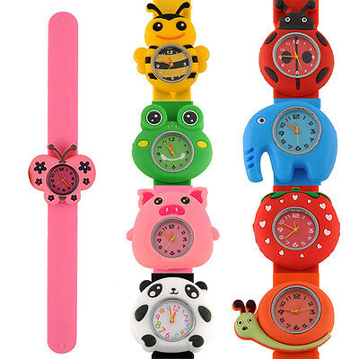 Cartoon Quartz Bendable Rubber Kids Strap Wrist Watch Cute Unique Pattern