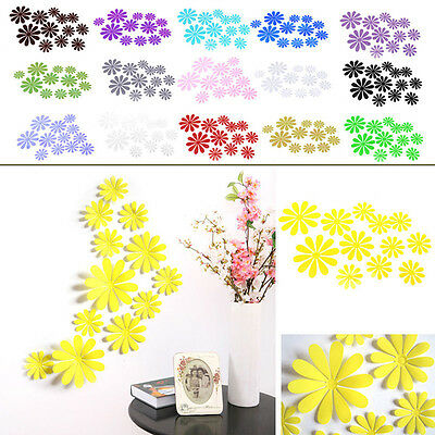 12pcs DIY Home Room Decor Removable Decal Room Sticker Wall Flower 3D Mirror Art