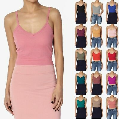 414d9c3085454 TheMogan jUNIOR s Basic Spaghetti Strap V- Neck Ribbed Cotton Crop Cami  Tank Top