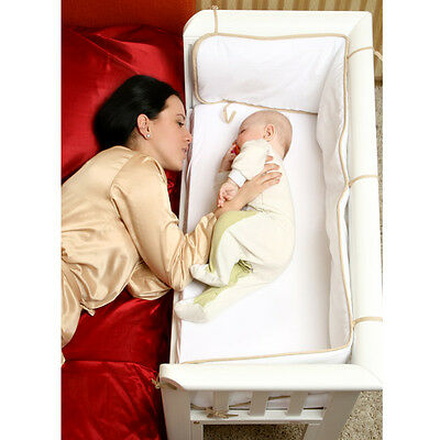 BABY Crib Bedside Cot Bed Solid Wooden White Mattress Next to Me From Birth NEW