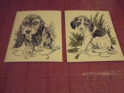 Vintage PAINT by NUMBER pen & Ink DRAWING 8x10 PUPPIES Basset Hound BEAGLE dogs