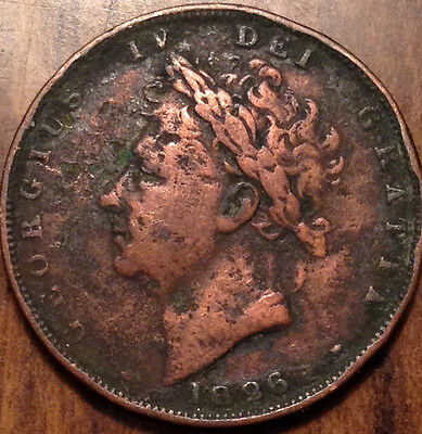 1826 Uk Gb Great Britain Farthing - Cleaned