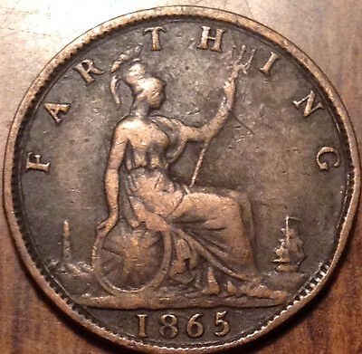 1865 Uk Gb Great Britain Farthing In Good Condition